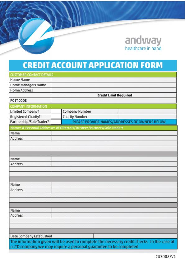 Customer Credit Account Application Form