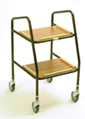 Picture of Adj height walker trolley with wooden shelves