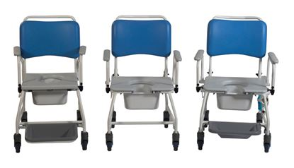 """Picture of Atlantic Mobile commode and Shower chair (footrests) (18"""")"""