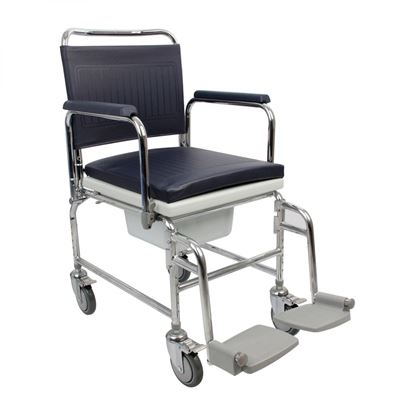 "Picture of Adjustable Height Heavy Duty Mobile Commode 18"" Seat"