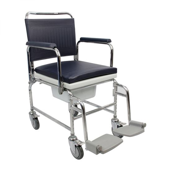 """Picture of Adjustable Height Heavy Duty Mobile Commode 18"""" Seat"""