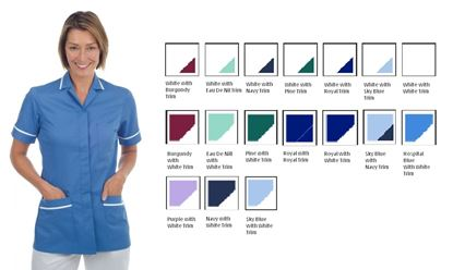 Picture of Stud Front Tunic Polycotton -White with Royal Trim