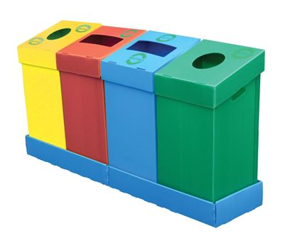 Picture of Flatpack recycling bins -75Ltr -Blue with letterbox opening