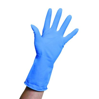 Picture of Rubber Domestic Gloves Blue - Medium (pr)