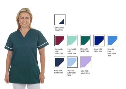 Picture of Tunic Polycotton -White with Navy Trim