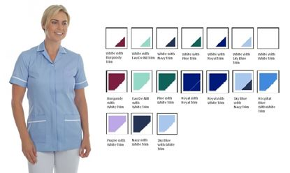 Picture of Zip Front Tunic Polycotton -Hospital Blue with White Trim