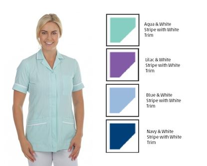 Picture of Stripe Zip Front Tunic - Aqua& White Stripe with White Trim