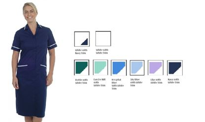 Picture of Stud Dress Polycotton -Hospital Blue with White Trim