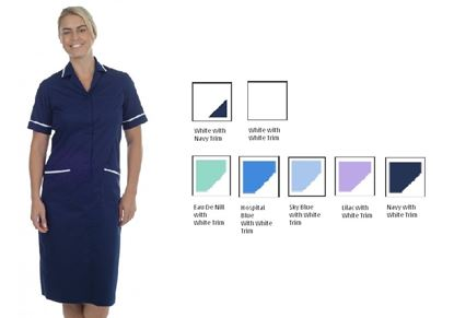 Picture of Zip Dress Polycotton -Hospital Blue with White Trim