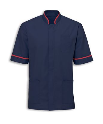 Picture of Mens zip mandarin collar tunic - Navy with red piping