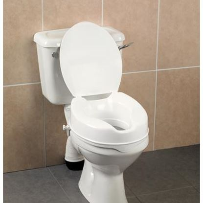 "Picture of 4"" Raised Toilet Seat with Lid"