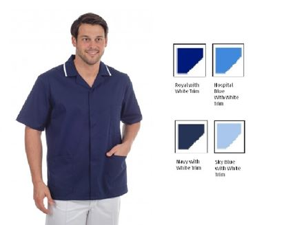 Picture of Stud Front Tunic Polycotton -Hospital Blue with White Trim