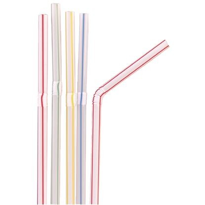 Picture of Flexible Straws Striped pk 250