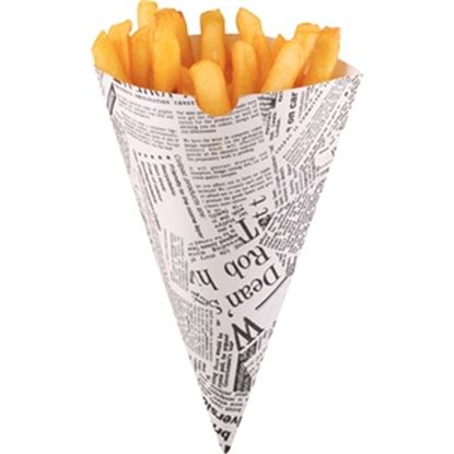 Picture of Disposable Newspaper Print Chip Cones (1000)