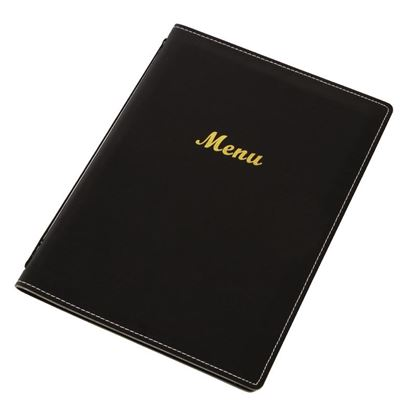 Picture of Leatherette Style Menu A4 - Black shows 4 pages