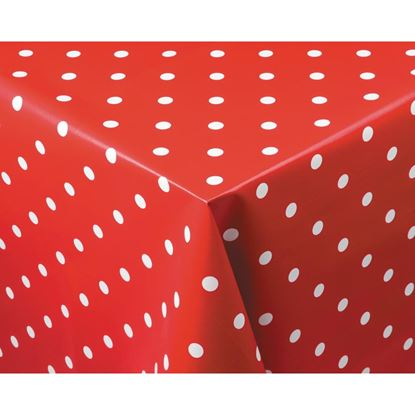 Picture of Wipe Clean PVC Tablecloths Polka Dot 1400 x 1800mm Red