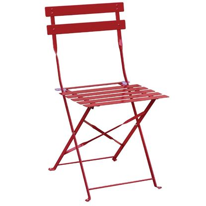 Picture of Bolero Pavement Style Steel Chairs Red (Pack of 2)