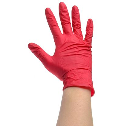 Picture of Vinyl Lightly Powdered Gloves RED - Medium (100)