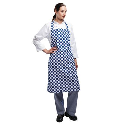 Picture of Chefs Bib Apron - Polycotton - Lrg Check Black/Red/Green/Blue