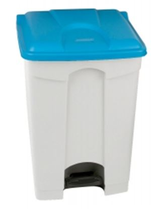 Picture of White Pedal Bin with Blue Lid - 30 Ltr