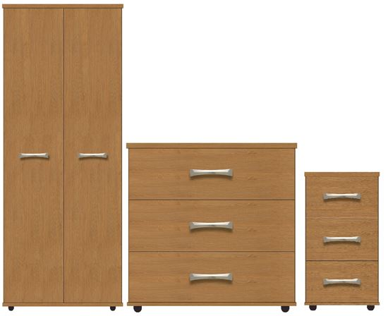 VIRGO Bedroom Furniture Package with Lockable Bedside ...