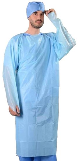 Picture of Blue Long Sleeve Isolation Gown 40g/Size: 117 x 193cm(10)
